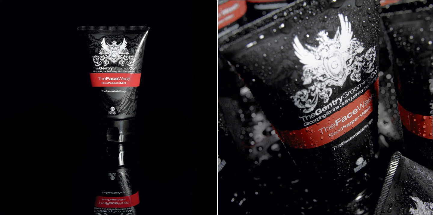 Mens grooming product still life photography. We used creative lighting, drop focus and lots of water to create this dark lifestyle mood.