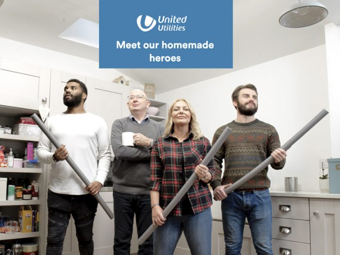 a brand campaign shot for United Utilities. All our models were real people and we hired a real house and set about creating a home situation to better lag our pipes in.