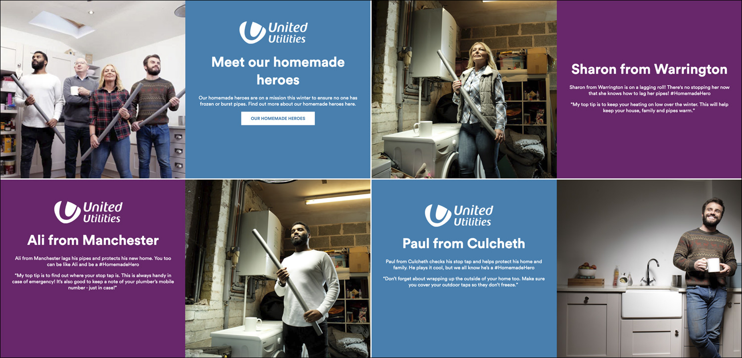A brand campaign shoot for United Utilities. A location photography shoot with models to show how we should all lag our pipes more.